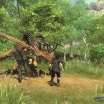 Huvudmedlemmarna i spelet slåss mot en fiende utomhus