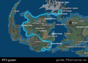 Karta för att hitta från Gongaga till Bone Village med Tiny Bronco