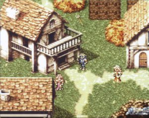 Skärmdump från SNES på Locke Cole i en landsby.